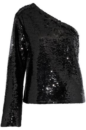 RTA One-shoulder sequined cotton-blend top