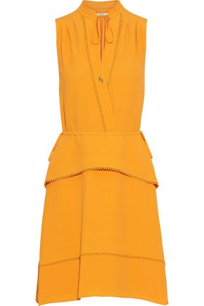 DEREK LAM 10 CROSBY Crochet-trimmed layered crepe dress