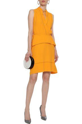 DEREK LAM 10 CROSBY Crochet-trimmed layered crepe dress
