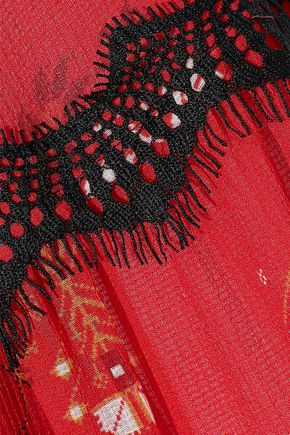 DEREK LAM 10 CROSBY Asymmetric lace-trimmed printed silk-georgette dress