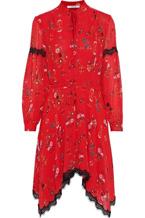 DEREK LAM 10 CROSBY Asymmetric lace-trimmed printed silk-georgette dress
