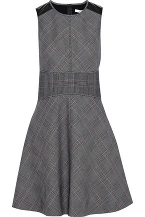 DEREK LAM 10 CROSBY PVC-trimmed checked jacquard mini dress