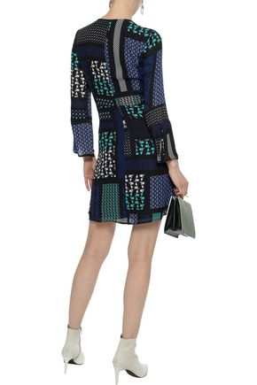 DEREK LAM 10 CROSBY Pleated printed silk-chiffon mini dress