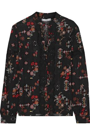 DEREK LAM 10 CROSBY Lace-trimmed printed silk-georgette blouse