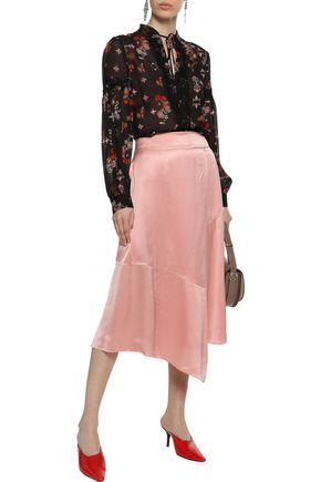 DEREK LAM 10 CROSBY Lace-trimmed printed silk-georgette blouse