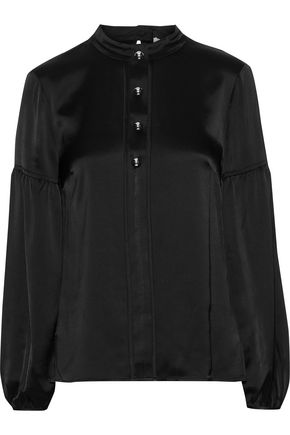 DEREK LAM 10 CROSBY Button-embellished gathered satin blouse