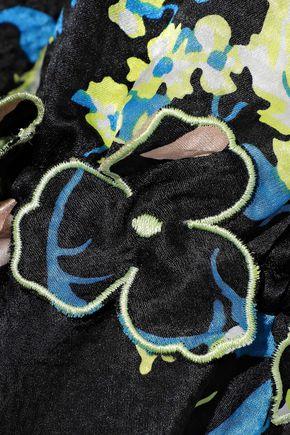 DEREK LAM 10 CROSBY Ruffle-trimmed floral-print hammered-silk mini dress