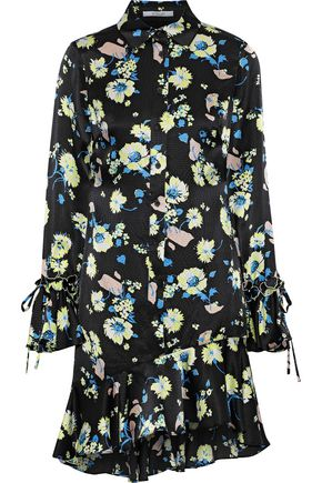 DEREK LAM 10 CROSBY Ruffle-trimmed floral-print hammered-silk mini dress