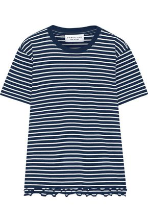 DEREK LAM 10 CROSBY Ruffle-trimmed striped cotton-jersey T-shirt