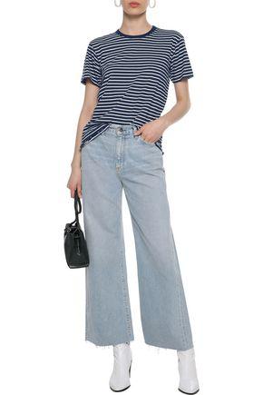DEREK LAM 10 CROSBY Ruffle-trimmed striped cotton-jersey T-shirt
