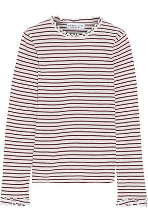 DEREK LAM 10 CROSBY Ruffle-trimmed striped cotton-jersey top