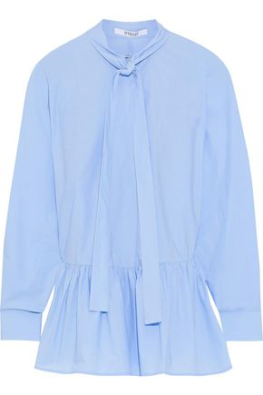 DEREK LAM 10 CROSBY Pussy-bow ruffled cotton-poplin shirt