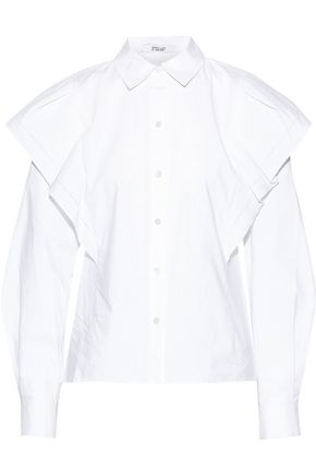 DEREK LAM 10 CROSBY Ruffle-trimmed cotton-poplin blouse