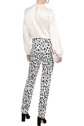 DEREK LAM 10 CROSBY Button-embellished gathered satin blouse