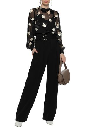DEREK LAM 10 CROSBY Gathered printed burnout-chiffon blouse
