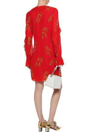 DEREK LAM 10 CROSBY Pleated floral-print crepe de chine mini dress