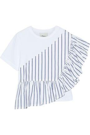 3.1 PHILLIP LIM Flamenco striped poplin-paneled cotton-jersey T-shirt