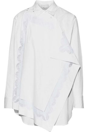 3.1 PHILLIP LIM Draped broderie anglaise-paneled cotton-poplin shirt