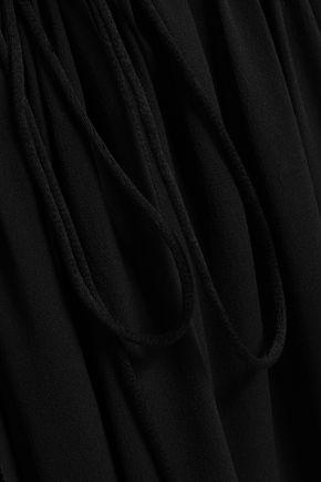 MUGLER Gathered silk-georgette dress