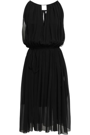 MUGLER Gathered silk-georgette dress