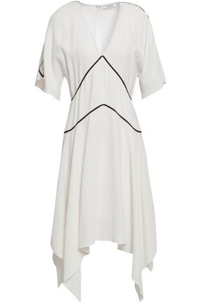 MUGLER Asymmetric grosgrain-trimmed seersucker dress