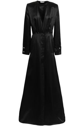 MUGLER Pleated embellished silk-satin gown