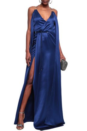 MUGLER Open-back embellished silk-satin gown