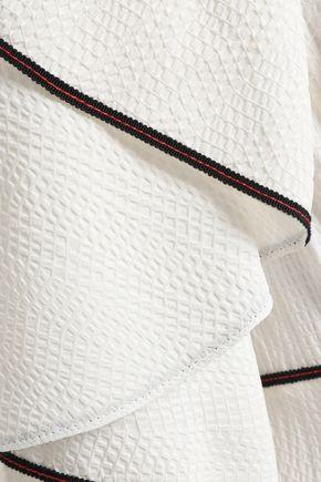 MUGLER Cold-shoulder grosgrain-trimmed seersucker maxi dress