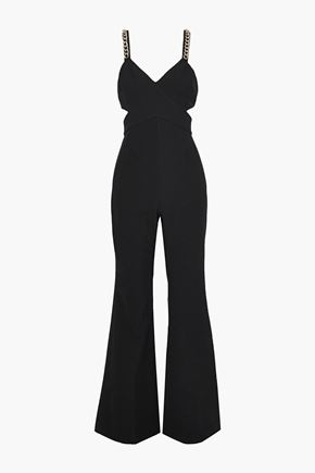 RACHEL ZOE Bettina chain-embellished cutout twill jumpsuit