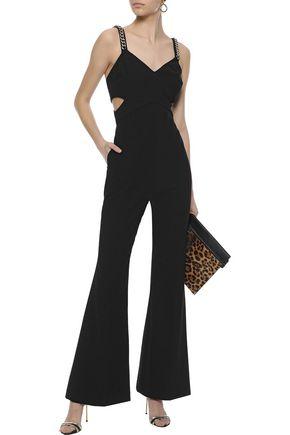 RACHEL ZOE Bettina chain-embellished cutout twill jumpsuit