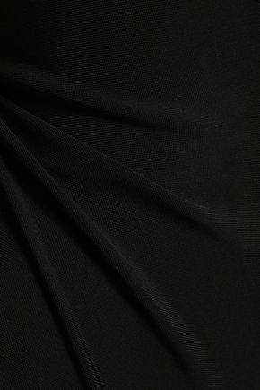 MUGLER Tulle-trimmed stretch-ponte bodysuit