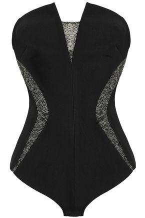 MUGLER Strapless lace-paneled ponte bodysuit