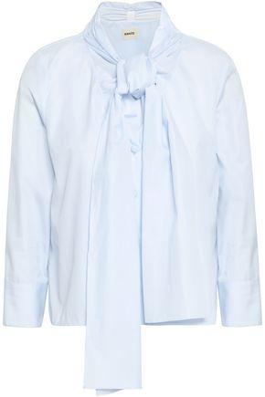 KHAITE Natalie pussy-bow cotton-poplin shirt