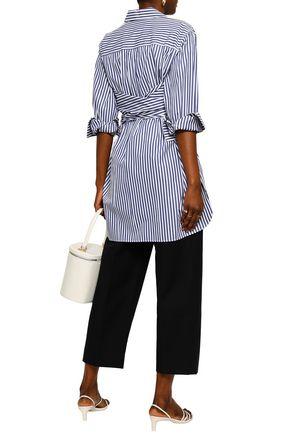 KHAITE Bianca tie-front striped cotton-poplin shirt