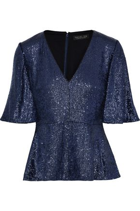 RACHEL ZOE Clover sequin-embellished stretch-crepe peplum top
