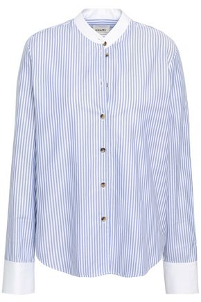 KHAITE Dakota striped cotton-poplin shirt