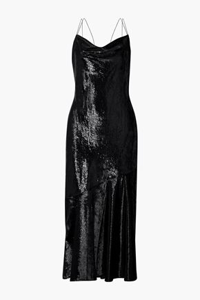 RACHEL ZOE Lolita draped metallic velvet midi dress