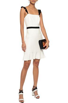 RACHEL ZOE Michele ruffle-trimmed crepe mini dress