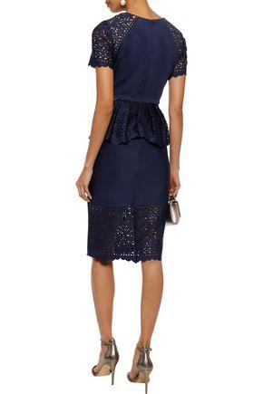 MARCHESA NOTTE Laser-cut neoprene peplum dress