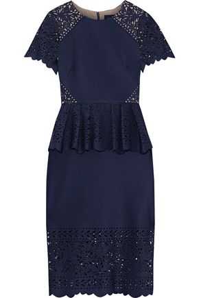 MARCHESA NOTTE Laser-cut neoprene peplum dress