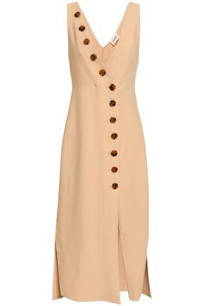 KHAITE Christy button-detailed twill dress