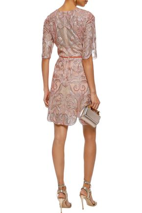 MARCHESA NOTTE Velvet-trimmed embellished tulle mini dress