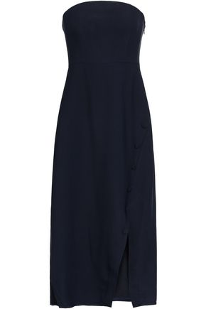 KHAITE Lena strapless twill midi dress