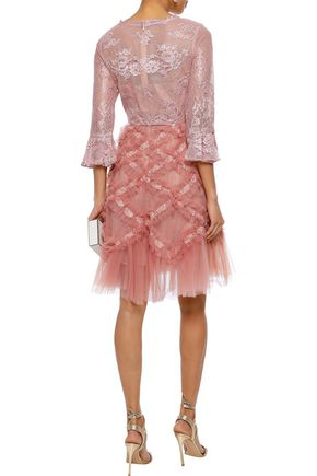 MARCHESA NOTTE Flared Chantilly lace and ruffled tulle dress