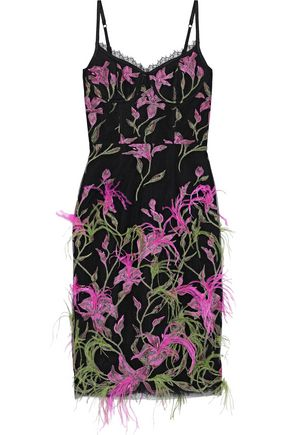 MARCHESA NOTTE Feather-embellished embroidered tulle slip dress