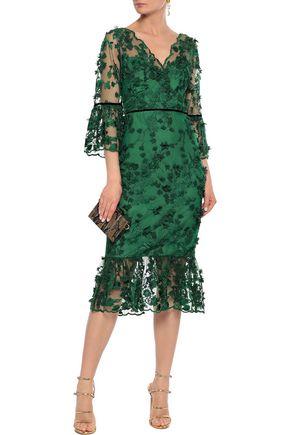 MARCHESA NOTTE Embellished velvet-trimmed tulle midi dress