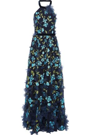 fcd25e06 MARCHESA NOTTE Floral-appliquéd embroidered tulle halterneck gown