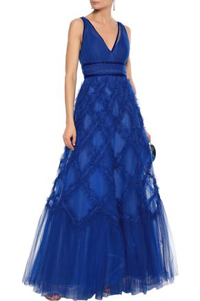 MARCHESA NOTTE Lace-appliquéd ruffled tulle gown