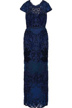 MARCHESA NOTTE Open-back guipure lace gown