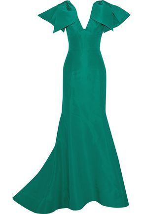 OSCAR DE LA RENTA Fluted bow-embellished silk-faille gown